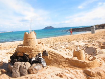 sandcastles on a beach